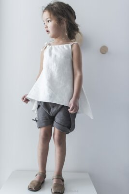 Linen Button Shorts